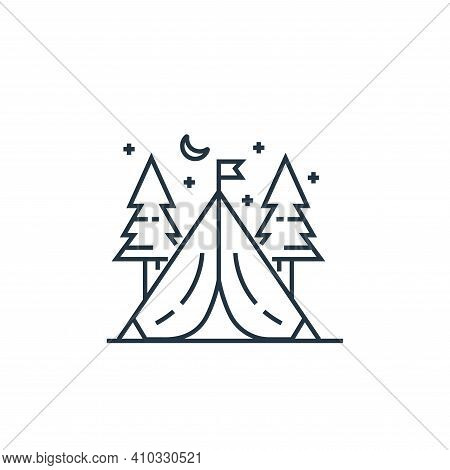 tent icon isolated on white background from tourism collection. tent icon thin line outline linear t