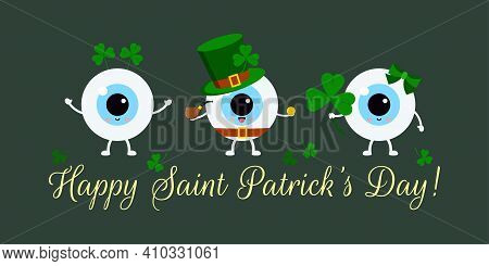 St Patrick Cute Eye Balls On Doctor Greeting Card. Ophthalmology Eyeball Irish Character With Shamro