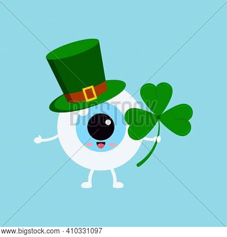 St Patrick Eyeball In Leprechaun Hat And Shamrock In Hand. Ophthalmology Irish Character With Three