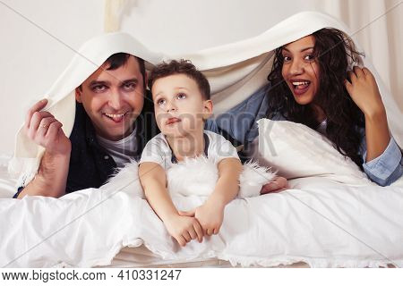 Happy Smiling Family Together At Home, Lifestyle People Concept