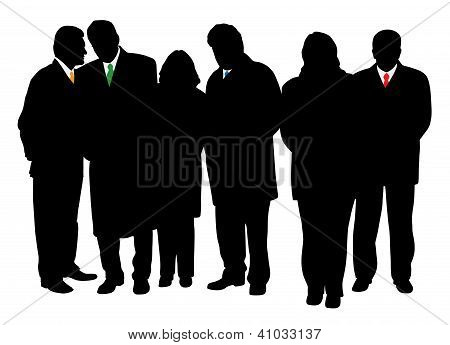 Group of four businessmen and two businesswomen in winter coats. Isolated white background. EPS file available.