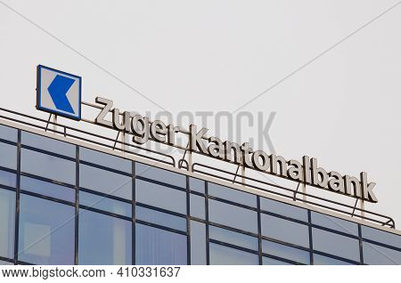 Zug, Switzerland - 26th February 2021 : Zuger Kantonalbank Or Zuger Kb Bank Sign Hanging On The Head