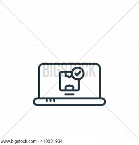 laptop icon isolated on white background from shipping and delivery collection. laptop icon thin lin