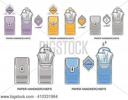 Pocket Paper Disposable Handkerchiefs Icon Set. Pack Of Cleaning Dry Wipes. Small Closed And Open Ti