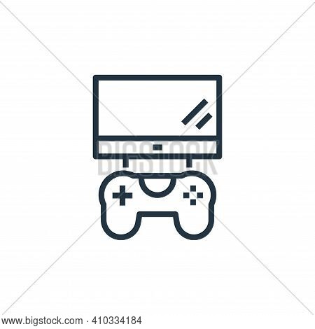 playing videogame icon isolated on white background from stay at home collection. playing videogame