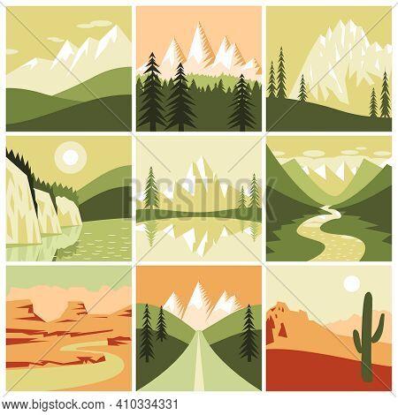 Nature Mountain Landscapes Tourism Decorative Icons Set Isolated Vector Illustration