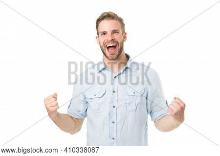 Achieve Success. Man With Beard Happy About Solution. Celebrate Good Result. Solution For All Proble