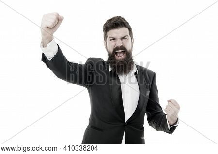 Superhero. Man Handsome Bearded Businessman Wear Formal Suit. Facial Hair And Grooming. Fashion Mode