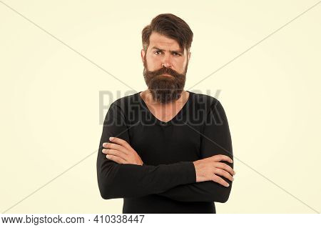Brutal Hipster With Beard Hair On White Background. Bearded Man Stylish Mustache Shape. Caucasian Gu