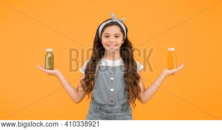 Vitamin Juice. Vitamin Nutrition. Fresh Smoothie. Girl Drinking Orange Fresh Smoothie. Vegetarian Co