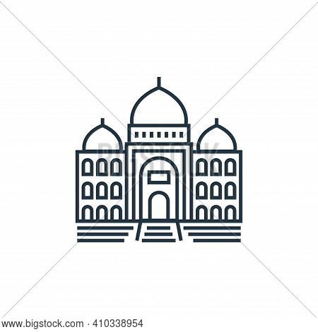 taj mahal icon isolated on white background from tourism collection. taj mahal icon thin line outlin