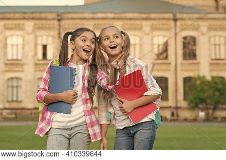 Best Friends Forever. Happy Friends Back To School. School Friends Smile Outdoors. Little Friends Ho