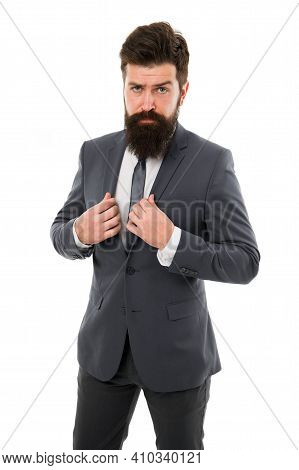 Hipster With Beard Formal Suit Office Worker. Businessman Formal Suit. Modern Businessman Ofiice Wor