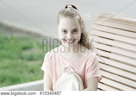 Feeling Cute And Fashionable. Adorable Fashionable Girl Smiling On Summer Day. Happy Little Child We