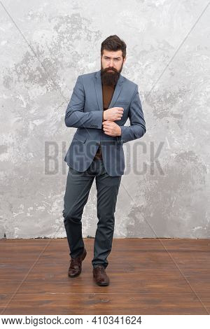 He Got Great Style. Man Handsome Bearded Businessman Wear Luxury Formal Suit. Menswear And Fashion C
