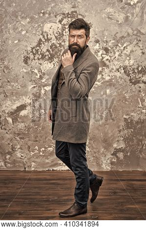 I Am Waiting For You. Casual Style. Bearded Hipster Autumn Style Clothes. Guy In Fall Coat. Clothing