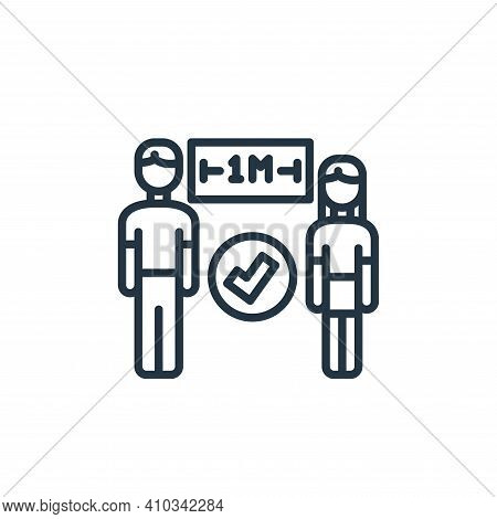 distance icon isolated on white background from virus transmission collection. distance icon thin li
