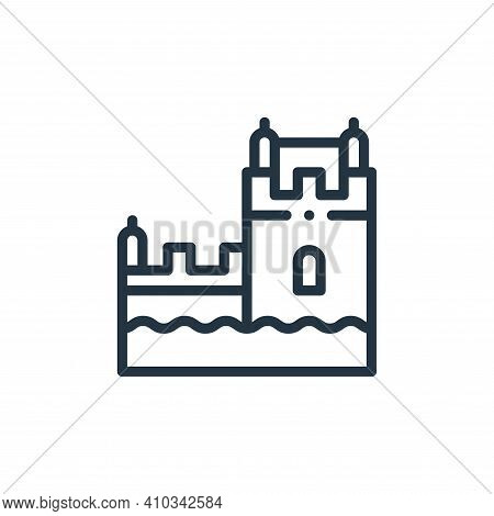 belem tower icon isolated on white background from europe collection. belem tower icon thin line out