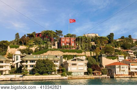 View From The Waters Of Bosporus Strait On Hilly Residential Blocks Of Kandilli Neighborhood With Re