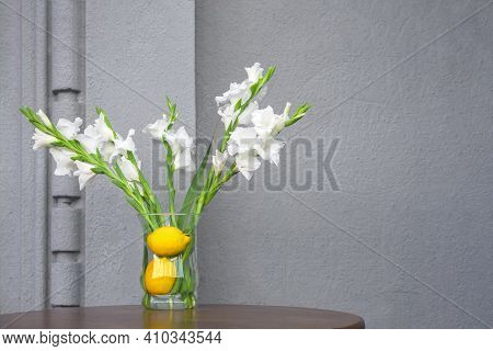 Concept Summer Flowers Setting Decoration Fresh Interior With Concrete Wall Cafe Design Elements Of