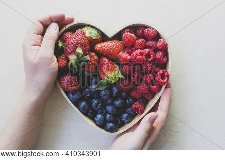 Assortment Berries Blueberries, Strawberries And Raspberries In Heart Woden Box. Keto Diet, Detox, H
