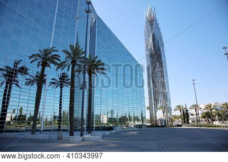 Garden Grove, California - USA - February 25, 2021: Christ Cathedral, formerly the Crystal Cathedral, is an American church building of the Roman Catholic Diocese of Orange Ca. Easily seats 2,248.