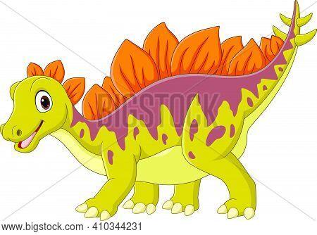 Vector Illustration Of Cartoon Happy Stegosaurus On White Backgroun