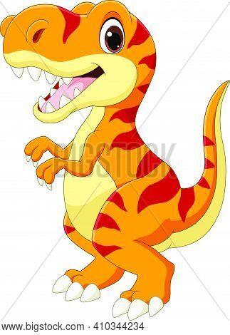 Vector Illustration Of Cartoon Happy Tyrannosaurus On White Background