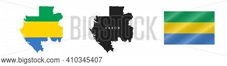 Gabon. Map With Masked Flag. Detailed Silhouette. Waving Flag. Vector Illustration Isolated On White
