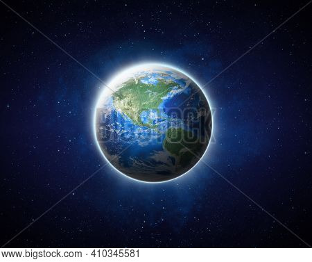 Earth On Space. Blue Planet Earth View From Outer Space Show North & South America, Usa. World Globa
