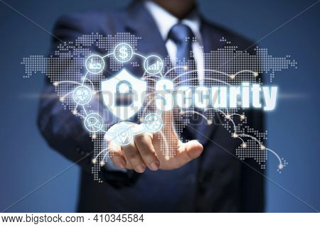 Connection Security. Businessman Push Security Icon Show Business Privacy, Internet System, Network