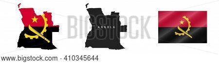 Angola. Map With Masked Flag. Detailed Silhouette. Waving Flag. Vector Illustration Isolated On Whit