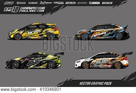 Car Wrap Decal Graphic Design. Abstract Stripe Racing Background Designs For Wrap Cargo Van, Race Ca
