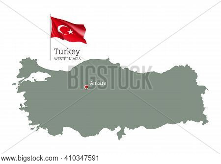 Silhouette Of Turkey Country Map. Highly Detailed Editable Map Of Turkey With National Flag And Anka