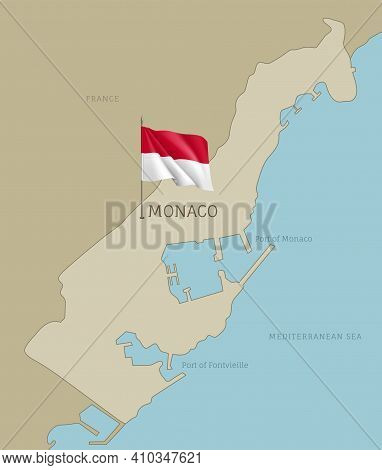 Silhouette Of Monaco Country Map. Highly Detailed Editable Country Map Territory Borders With Monaco