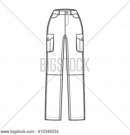 Set Of Jeans Cargo Denim Pants Technical Fashion Illustration With Normal Waist, High Rise, Pockets,