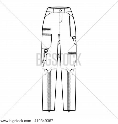 Bondage Pants Technical Fashion Illustration With Normal Waist, High Rise, Pockets, Belt Loops, Full