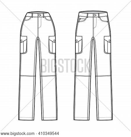 Set Of Jeans Cargo Denim Pants Technical Fashion Illustration With Normal Low Waist, High Rise, Pock