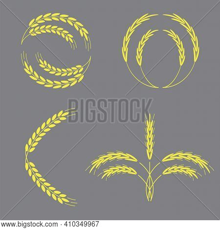 Yellow Golden Spikelets. Realistic Vector Illustration. Stock Image. Eps 10.