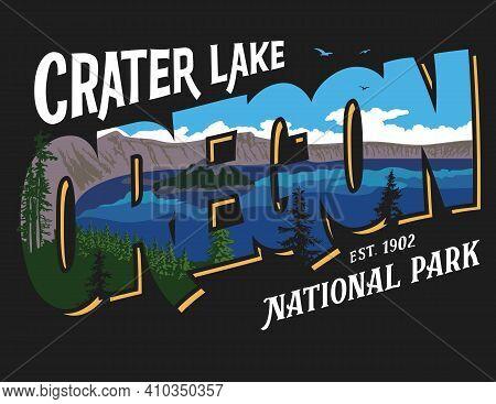 Crater Lake National Park. Hiking Oregon T-shirt Design. Print On Clothing. Native American Tourist
