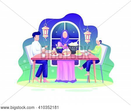 Ramadan Sahur And Iftar Party With Family During Ramadan Month, Eat Together With Muslim Family, Ram