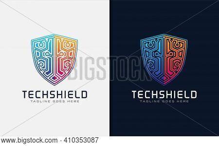 Tech Shield Logo Design. Usable For Business Brand, Tech And Company. Vector Logo Illustration. Grap