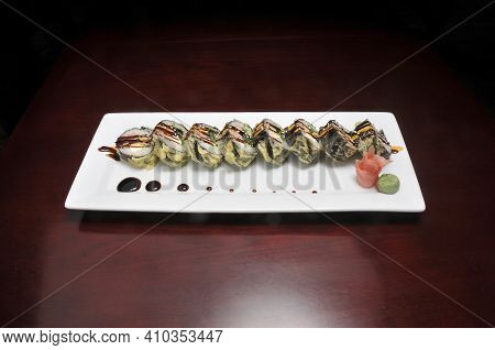Traditional And Authentic Japanese Cusine Know As A Crunchy Sushi Roll