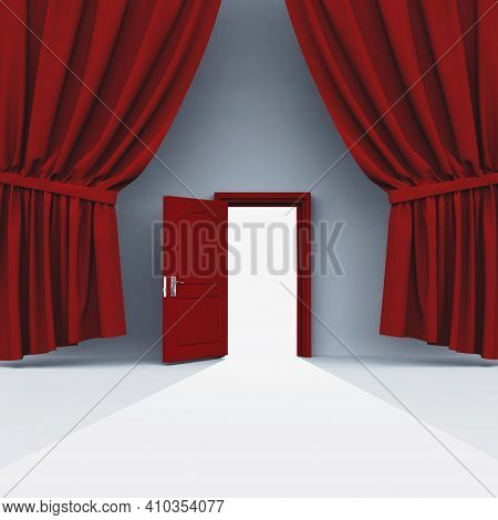 Opened Door And A Red Curtain . This Is A 3d Render Illustration .
