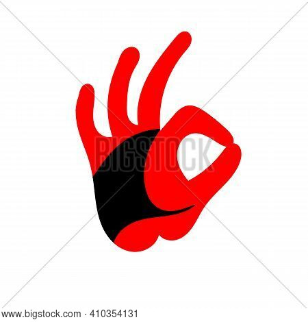 Red Fire Rooster. Illustration Of Rooster, Cock, Design. Logo Ok Hand Icon