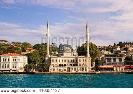 Istanbul, Turkey - 09 07 2020: View From The Waters Of Bosporus Strait On Beylerbeyi Hamid-i Evvel M