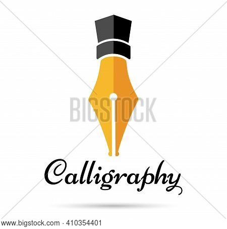 Calligraphy Fountain Pen. Gold Fountain Pen Isolated