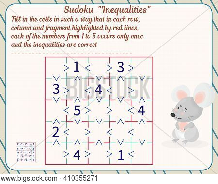 Logic Game For Children And Adults. Inequality Sudoku. Development Of Attention, Memory, Thinking. W