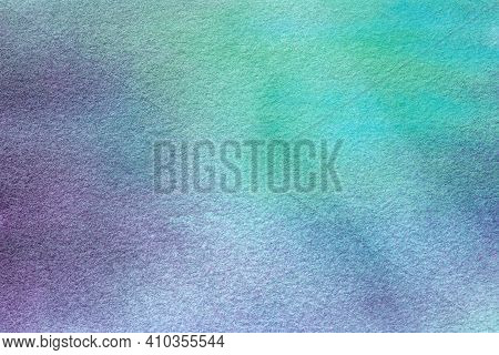Abstract Art Background Light Green And Blue Colors. Watercolor Painting On Canvas With Purple Stain