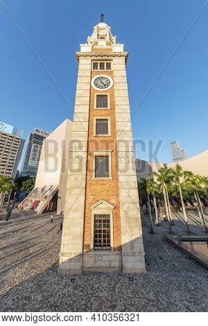 Hong Kong, China - November 12, 2020 : Historical Landmark Clock Tower In Hong Kong City